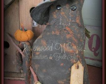 primitive halloween, halloween cat, prim cat, primitive pumpkin, primitive halloween cat