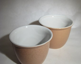 Pair of Tan and White Custard Cups