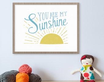 You Are My Sunshine Wall Art, Nursery Print, Sunshine Art, Yellow Nursery Decor, Sunshine Birthday, Kids Wall Art, Illustration Print