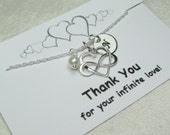 Bridesmaid Jewelry Set of 3 Will You By My Bridesmaid Gift Infinity Initial Necklace Heart Bridesmaid Necklace Personalized Jewelry