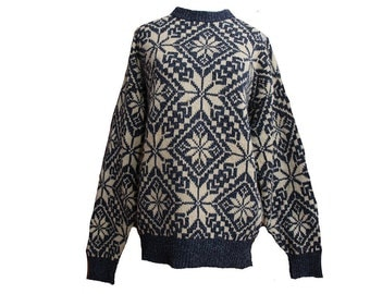 Vintage Blue & White Snowflake Sweater Size Large