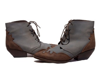 Vintage Women's Western Ankle Boots Vintage Booties Gray Leather Size 5.5 US