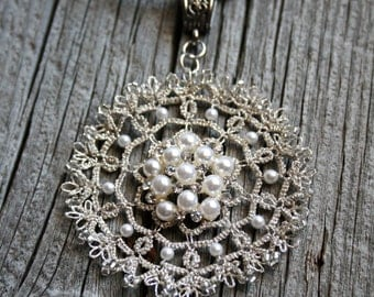 Tatting Lace Pendant Pearl Silver Mandala Fiber Necklace