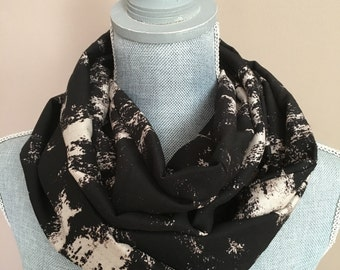 All Season Infinity Scarf with Hidden Pocket - Black and White Print
