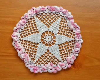 7.5 to 8 inch Crochet Doily with Pink Border, Vintage Handmade Doily with Pink Ruffled Border, Table Doily Great Under Vases