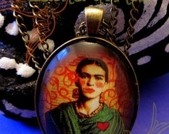 """Frida Kahlo 30X40mm Glass and Brass Pendant and Chain Necklace -Print of Original Mixed Media Art """"Mi Frida"""" by Laura Gómez"""