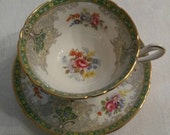 Shelley Tea Cup and Saucer; Footed; Titled, 'Georgian' In The Green Pattern circa 1940-1966-  DS