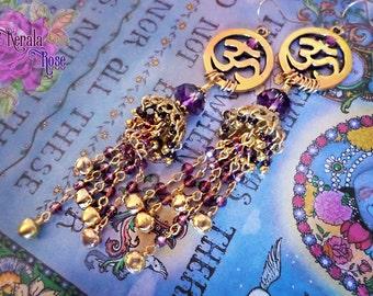 "Spiritual Om Symbol Purple Crystal Indian Jhumka Earrings, Bright Gold, Hindu, Buddhist, Self Realization, Gypsy Jingle Bells, 4 3/4"" Long"