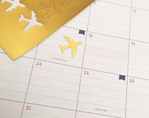 30 Gold Foil Airplane Travel Stickers