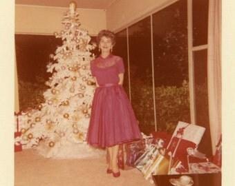"Vintage Photo ""Mother's Classy Christmas Dress"" Snapshot Old Antique Photo Black & White Photograph Found Paper Ephemera Vernacular - 67"
