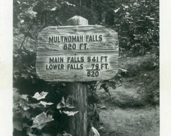 "Vintage Photo ""Searching for Multnomah Falls"" Old Sign Snapshot Antique Photo Black & White Photograph Found Paper Ephemera Vernacular - 182"