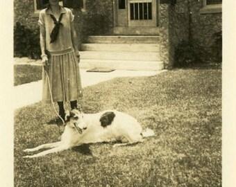 "Vintage Photo ""Mystery Dog Walker"" Snapshot Photo Old Antique Photo Black & White Photograph Found Photo Paper Ephemera Vernacular - 171"