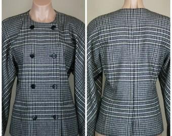 ESCADA Margaretha Ley Vintage Retro 80s Houndstooth Double Breasted Blazer Coat Jacket sz 36 6