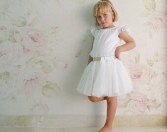 White Tulle Skirt, Tutu Skirt for Little Girl and Toddler, Tulle Skirt with Gold Glitter Belt