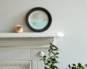 ceramic wall art plate, 'SEASCAPE', decorative wall hanging plate, plate for wall hanging, nautical ceramics, nautical naive wall art