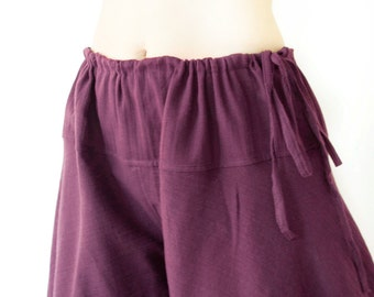 Boho Loose Fit Summer Pants, Comfy Wide Leg Cotton Drawstring Pants, Beach Pants, Purple, Plum