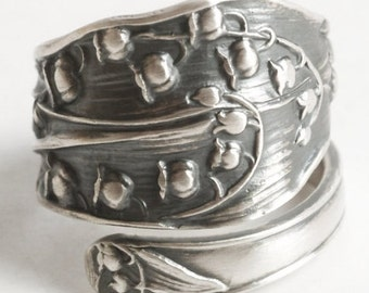 Lily of the Valley Ring, Sterling Silver Spoon Ring, Antique Spoon Ring, Handmade Jewelry, Silver Lily Ring, Adjustable Ring, Fessenden 6189