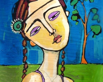 original acrylic painting of girl, figure painting