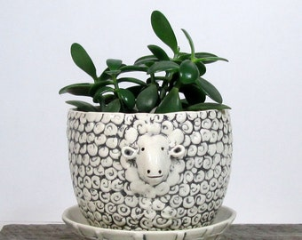 Sheep planter with overflow saucer Mother's Day Made to order