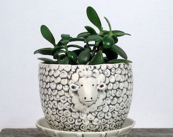 Sheep planter with overflow saucer Mother's Day Ready to ship