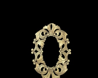 Ox Brass Stamping Heirloom Quality Victorian Style pierced frame cameo Jewelry Making Assemblage Made in the USA Dr Brassy Steampunk
