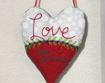 LOVE one another embroidered heart ornament, embroidered heart keepsake