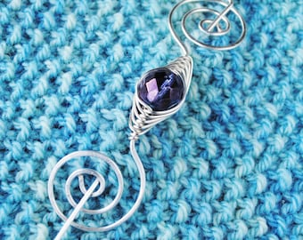 Purple Shawl Pin on Silver Wire