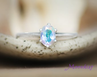 Oval Opalescent Topaz Classic Ring in Sterling - Silver Engagement Ring or Promise Ring - Silver Oval Solitaire Wedding Ring