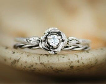 Elegant Silver Rose Engagement Bridal Ring Set with White Sapphire - Delicate Silver Diamond Alternative Rose Wedding Anniversary Ring Set