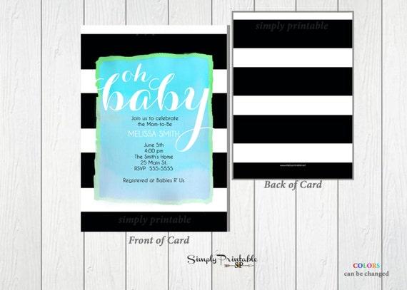 Baby Shower Invitation, Blue Black and White Striped, Watercolor Boy Shower Invite, Bridal Shower
