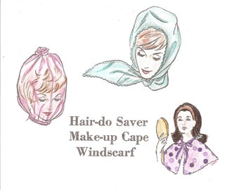Vintage Beauty Accessories Pattern Make-up Cape, Hair-do Protector, Windscarf, Sew-Knit-N-Stretch 209 Vintage Sewing Pattern