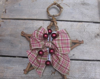 Twig Star Christmas Ornament, Primitive Twig Star Ornament, Rustic Country Ornament, Tree Decor, Holiday Star, Cranberry SnowNoseCrafts