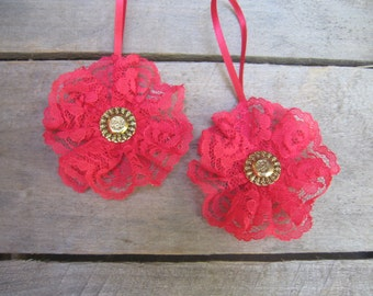 Red Lace Ornaments, Christmas Tree Ornaments, Set of TWO, Red Victorian Ornaments, Lace Ornaments, Christmas Decor, Red SnowNoseCrafts