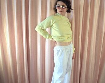 Pristine Crisp White Cotton Lounge Pants, 80s Giovelli