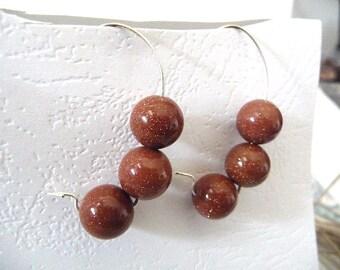 Goldstone Earrings, Gold stone earrings, Gemstone earrings, Brown earrings, glitter earrings, kidney wire, silver gemstone, earrings,  brown