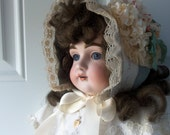 Baby Bonnet - Handmade, OOAK, New Baby, Baby Photo, Easter Bonnet, Baptism, Downton Abbey, Gift Idea, Baby Girl, Doll Collectors