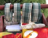 Hand Towel Rings -  Hooks in Primitive Green Plaid - Towel Hangers - Housewares - Set of 2 - Hand Towel Hooks
