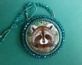 "FREE SHIPPING hand painted pendant "" Raccoon """