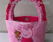 Little Girls Pink Bag with Peppa Pig Applique Design