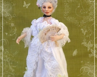 MARIE ANTOINETTE ooak French Court lady 1:12 dollhouse doll by Soraya Merino