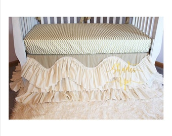 Front Side Only Crib Skirt Handkerchief Linen By Shadesupandco