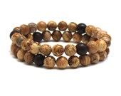 Men Wood Beaded Bracelet Mala Beads, Picture Jasper Mens Mala Bracelet Anniversary Boyfriend Gift for him Men Yoga Bracelet Prayer Beads