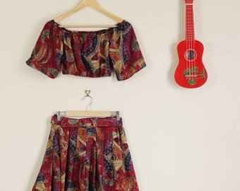 Altered Colourful 90s Print Twin Set off the Shoulder Crop and Matching Skirt with Belt 60s