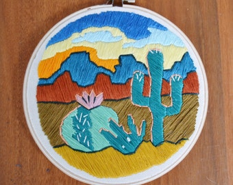 Southwest Paradise Embroidered Wall Hanging Hoop