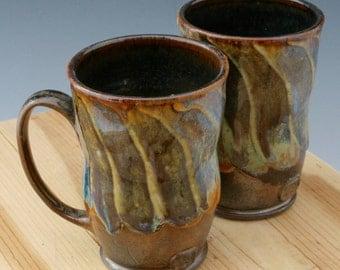 Set of Earthy Brown Coffee Mugs #28, Two Matching Ceramic Mugs, Rustic Set of Clay Mugs