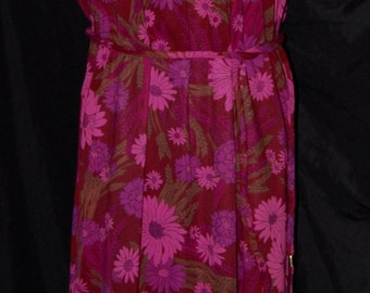 vintage 60s dress, large vintage dress, dark floral knit, red and pink, square neck, plus size