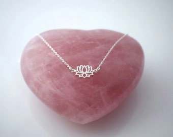 LOTUS FLOWER floating sterling silver charm necklace chain, yoga necklace
