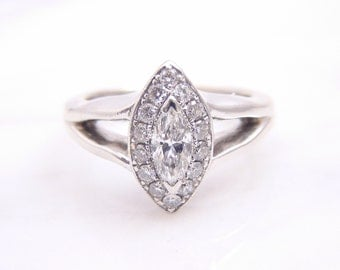 CLEARANCE - Vintage 18k White Gold Diamond Marquise Halo Engagement Ring Size 4.25