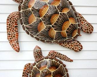 "34"" Sea Turtle Wall Art, Original Handpainted Wood Sculpture, Beach House Decor"