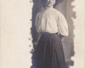 Don't Show Anybody This Scarecrow- 1900s Antique Photograph- Edwardian Woman- Shirtwaist Dress- Real Photo Postcard- RPPC- Paper Ephemera